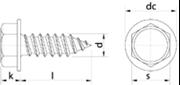 Vite Autofilettante Testa Esagonale con bordino Zincato Bianco