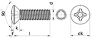 Vite autoformante (trilobata) Testa Svasata Calotta Impronta Croce Zincato Bianco