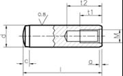 Spine cilindriche temprate con foro di estrazione tolleranza m6